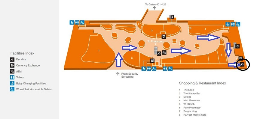 How To Get From Terminal Two To Terminal One After Security Dublin Airport Map