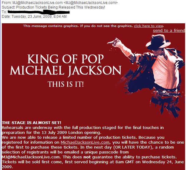 production ticket info
